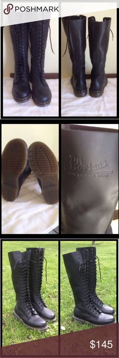 Dr. Martens Tall Lace Up Boots NWOT Beautiful leather boots with rubber sole. Perfect new condition, never worn. No side zipper. Size UK 5 which is US 7 in women's.  Not eligible for bundle discount.  Dr. Martens Shoes Lace Up Boots