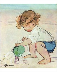 An poster sized print, approx (other products available) - King of the Castle by Muriel Dawson -- a little boy making a sandcastle on the beach. Date: 1934 - Image supplied by Mary Evans Prints Online - Poster printed in the USA Children Sketch, Beach Art, Beach Kids, Art For Art Sake, Children's Book Illustration, Art Plastique, Vintage Children, Vintage Art, Retro Art