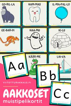 Aakkoset muistipelikortit - Viitottu Rakkaus Speech Therapy, Homeschool, Teacher, Comics, Games, Reading, Children, Peda, Professor