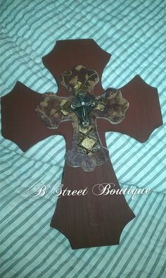 Antique Maroon Layered Wooden Cross by bstreetboutique on Etsy