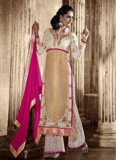Festival and Party Wear Beige Georgette Pallazo Suit