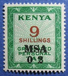 Kenya Personal Tax 9 Shillings 1966