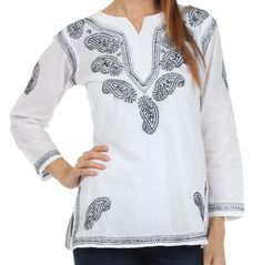Sakkas Paisley Embroidered Cotton Long Sleeve Blouse
