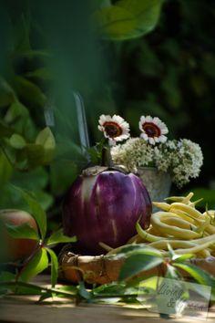 Aubergine und Bohnen Erntezeit