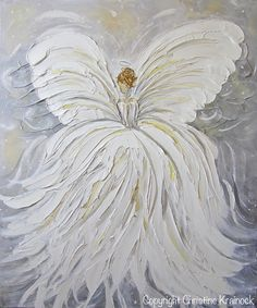GICLEE PRINT Art Abstract Angel Painting White Grey Gold Home