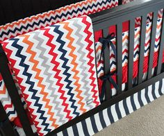 Red Navy Grey and Orange Custom Crib Bedding by GiggleSixBaby