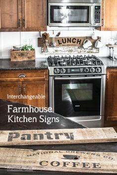 Interchangeable rustic farmhouse kitchen signs
