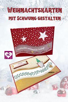 """Schwungvolle Weihnachtskarten gestalten, mit dem Stempelset """"Geschwungene Weihnachten"""" und den Stanzformen """"Mit Schwung"""" - mehr Iden in meinem Blogbeitrag. #hobbycompany #Weihnachtskartengestalten #WeihnachtenDIY 'Stampinupweihnachten"""