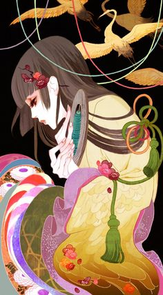 É a imagem da garça que se transforma em mulher e tece um belo tecido com as suas próprias penas, uma antiga lenda japonesa... Art by manga artist Hiromi Matsuo.