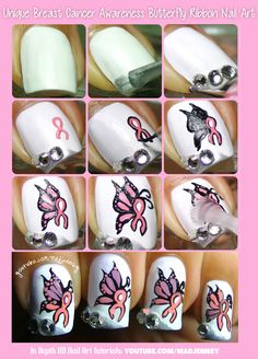 Step by Step tutorial for Unique Breast Cancer Awareness Butterfly Ribbon Nail Art  #nails #nailart #madjennsy #tutorial #nailtutorial