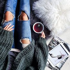 "Erica Hoida • FashionedChic on Instagram: ""Rainy day hibernation. Doing what I do best - online shopping Have a great one! // outfit details on the blog in 'daily details' or via @liketoknow.it www.liketk.it/1N6PG #liketkit (cardigan by @ilovemrmittens)"""