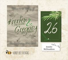 RUSTIC NATURAL Wedding Decoration Collection - Wood and Greens Entry Poster, Table Numbers and Name Place Cards - Printable Digital File