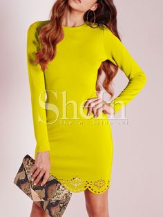 Yellow Long Sleeve Adorable Scallop Hollow Dress 12.99