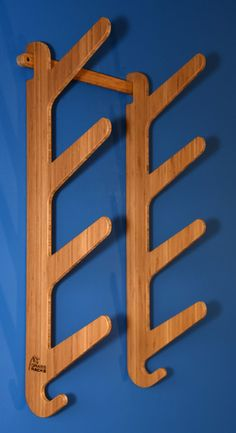 Bamboo Skateboard Rack, Snowboard Mount, Surfboard Bamboo Display Rack with Utility Hooks - Displays between 1 - 5 boards. Strong. Gorgeous. Easy Installation.