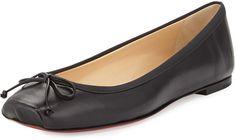 Christian Louboutin Square-Toe Ballerina Flat, Black on shopstyle.com
