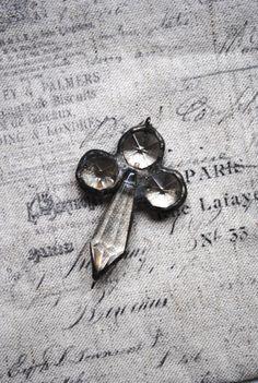 Repurposed antique crystal soldered pendant cross