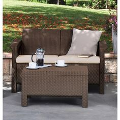Keter Corfu Love Seat All-weather Outdoor Brown Patio Garden Furniture with Cushions