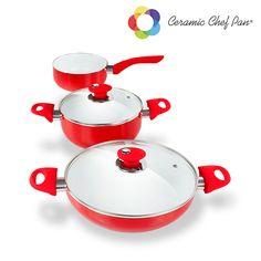 #Batería de #Cocina Ceramic Chef Pan (5 piezas) #regalosuper