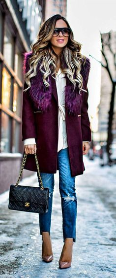 Burgundy coat winter outfit