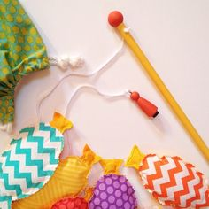 An easy and fun toy set to make for smaller boys. Magnetic fish, fishing pole, and drawstring bag.