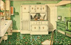 1929 Green and White Kitchen with Built-in Cabinetry - 1920s Kitchen Inspiration