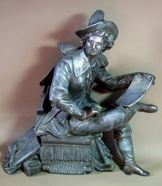 RUBENS Antique Ansonia CLOCK TOPPER Statue Writer Artist Spelter Metal Sculpture by GemsTreasuresofGrace on Etsy