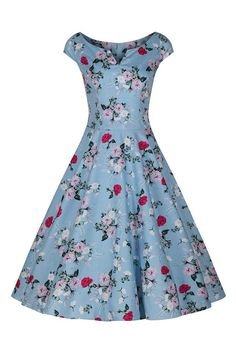 Sky Blue and Pink Rose Swing Dress
