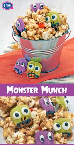 Give your kids a trick AND treat with an easy Halloween-themed snack mix: crunchy honey caramel popcorn, candy corn, and monster-eyed chocolate covered pretzels.