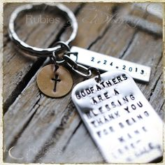 Godfather/Godmother Personalized Keychain, Gift for Godparents, Christening gift, Baptismal gift, Godparents are a blessing. $34.00, via Etsy.