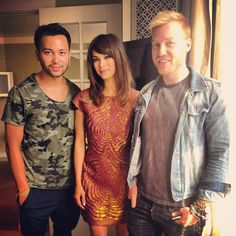 Kristin Kreuk with the guys who did her hair and make up for interviews on May 15th.