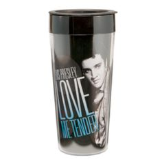 Elvis Presley 16 oz. Plastic Travel Mug - How do you like your coffee? Any way you like it, you'll carry it easier on the go with this Elvis Presley 16 oz. Plastic Travel Mug