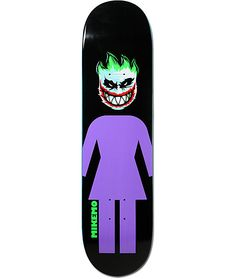 """Ride the same deck as Girl pro skater and Pretty Sweet Star Mike Mo Capaldi with the Joker 7.75"""" skateboard deck. This Mike Mo pro model has the OG Girl logo with a Spitfire Flame logo dressed as the Joker. Built from tough maple this deck is ready for te"""