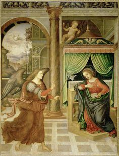 School:Umbrian  Annunciation, late 15th or early 16th. Wood,transferred to canvas,  Kunsthistorisches Museum, Gemaeldegalerie, Vienna, Austria