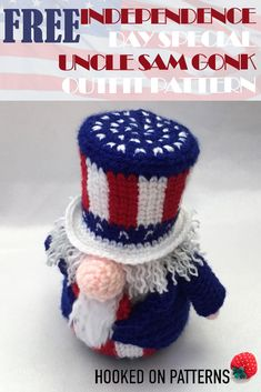 Pin the Free Uncle Sam Gonk Independence Day crochet pattern. Part of A Gonk's Journey by Hooked On Patterns. Adam Gonk has been invited back over the pond, to help with the of July celebrations. He'll be dressing up as Uncle Sam for a guest appearance! Crochet Patterns Amigurumi, Amigurumi Doll, Crochet Dolls, Crochet Angels, Love Crochet, Crochet Gifts, Crochet Bunny, Modern Crochet Patterns, Doll Patterns