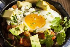 Huevos Rancheros is a breakfast meal comprised of eggs, salsa, and corn tortillas. This dish ditches tortillas, slashing a bunch of calories and carbs.