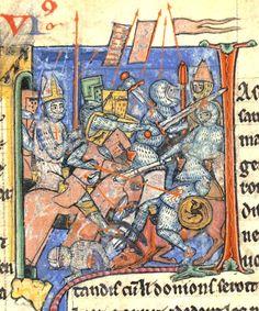 Miniatura medieval de Ademar de Monteil, con la mitra, empuñando la lanza del destino en una batalla de la Primera Cruzada.