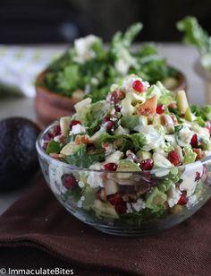 Avocado,pomegranates and pecan salad.
