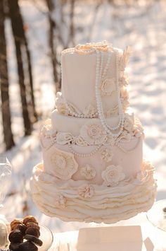 lace and pearl wedding cake...gorgeous! I think the draping pearls are a little too much, but I like this!