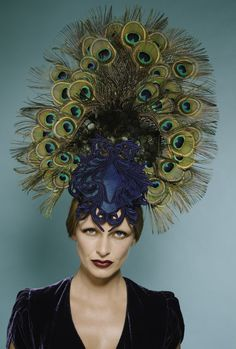 A peacock and Lady Amhurst feather show stopper headpiece with a navy lace applique on a teal raw silk base. Headdress, Headpiece, 1980 Makeup, Ladies Day Outfits, Peacock Embroidery Designs, Peacock Crafts, Wire Headband, Navy Lace, Fantasy Makeup