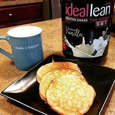 """""""A little taste of heaven! My husband told me I had about 30 seconds to take the picture before these protein pancakes were in his tummy!  If you're looking for a hubby-approved healthy breakfast, try these bad boys! 1 scoop IdealLean French Vanilla protein  1 cup oat flour (oats ground into powder)  1/2 cup almond milk  2 T natural applesauce  1 T honey  tsp vanilla extract  1/2 tsp baking powder  dash of salt  dash of cinnamon  Drizzle honey or melted natural peanut butt..."""