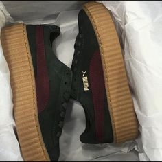 PRE-ORDER Puma Rihanna Creeper (green/bordeaux) This is for a pre order of the Rihanna creeper releasing May 26th. Item will come in original box with receipt of the store it was bought from. $200/️️. I am a trusted seller here on Posh. Puma Shoes Sneakers
