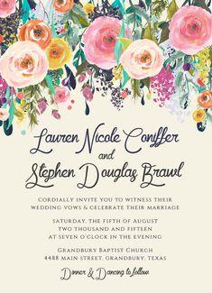Negrita de invitaciones de boda Floral bohemio por papernpeonies