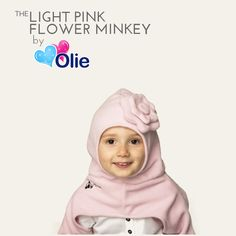 Fan Favorite: Light Pink Flower Minkey! https://www.bumblebean.com/Olie-The-Flower-Minkey--Hat-Scarf-And-Mittens-All-In-One/dp/4670?ref=search #olie #minkey #babyproduct #kidsproduct #children #ideas #parenting #tips #bloomer #outfit