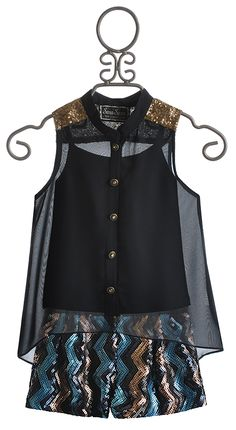 The Collection Sheer Tween Top and Shorts with Sequins