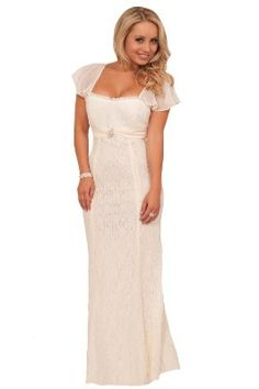Short Sleeve Empire Waist Lace Overlay Full Length Wedding Gown Bridal Dress:Amazon:Clothing