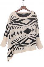 Apricot Geometric Pattern Batwing Sleeve Irregular Hem Sweater $30.32 #SheInside