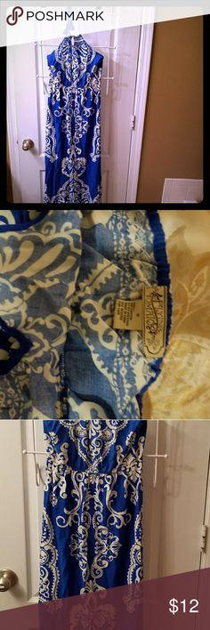 Vibrant blue Flying Tomatoe maxi dress Royal blue  and white exotic print halter maxi dress Flying Tomato Dresses Maxi