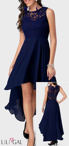 21022a1ee20 Lace Panel High Low Navy Blue Bridesmaid Dress  liligal  dresses   womenswear  womensfashion