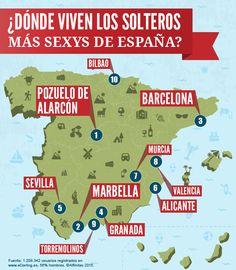 ¿Dónde viven los solteros   más sexys de España? Fuente: 1.208.342 usuarios registrados en  www.eDarling.es, 56% hombres. ©Affinitas 2015.  #Infografía #mapa #pueblos #tracciónsexual