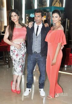 Zareen (Zarine) Khan, Karan Singh Grover and Daisy Shah at the trailer launch of 'Hate Story 3'. #Bollywood #Fashion #Style #Beauty #Sexy #Hot